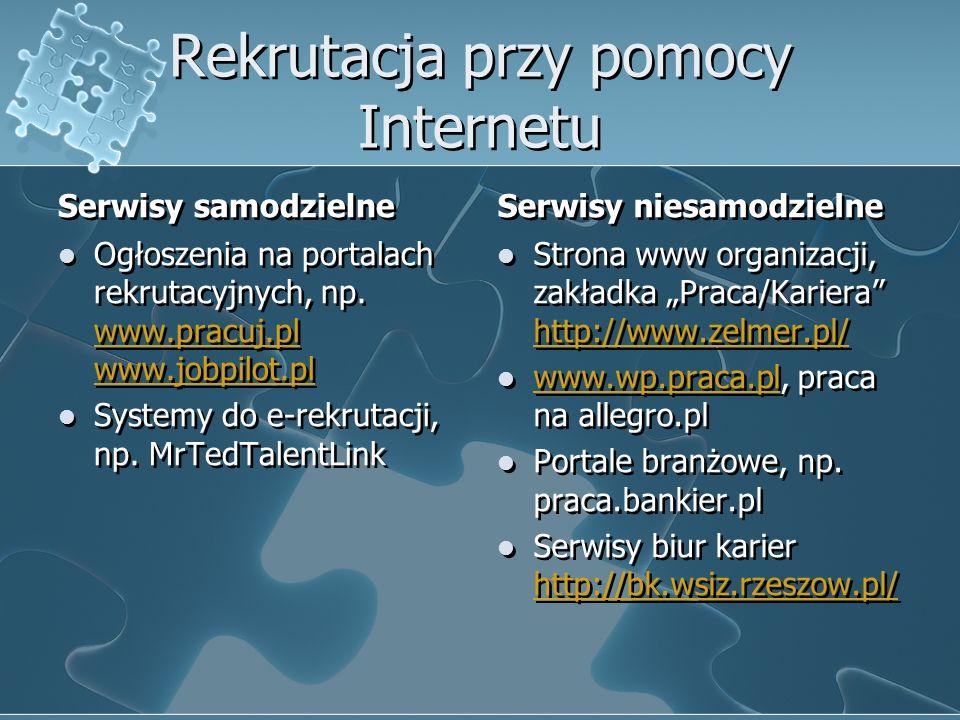 Rekrutacja przy pomocy Internetu Serwisy samodzielne Ogłoszenia na portalach rekrutacyjnych, np. www.pracuj.pl www.jobpilot.pl www.pracuj.pl www.jobpi