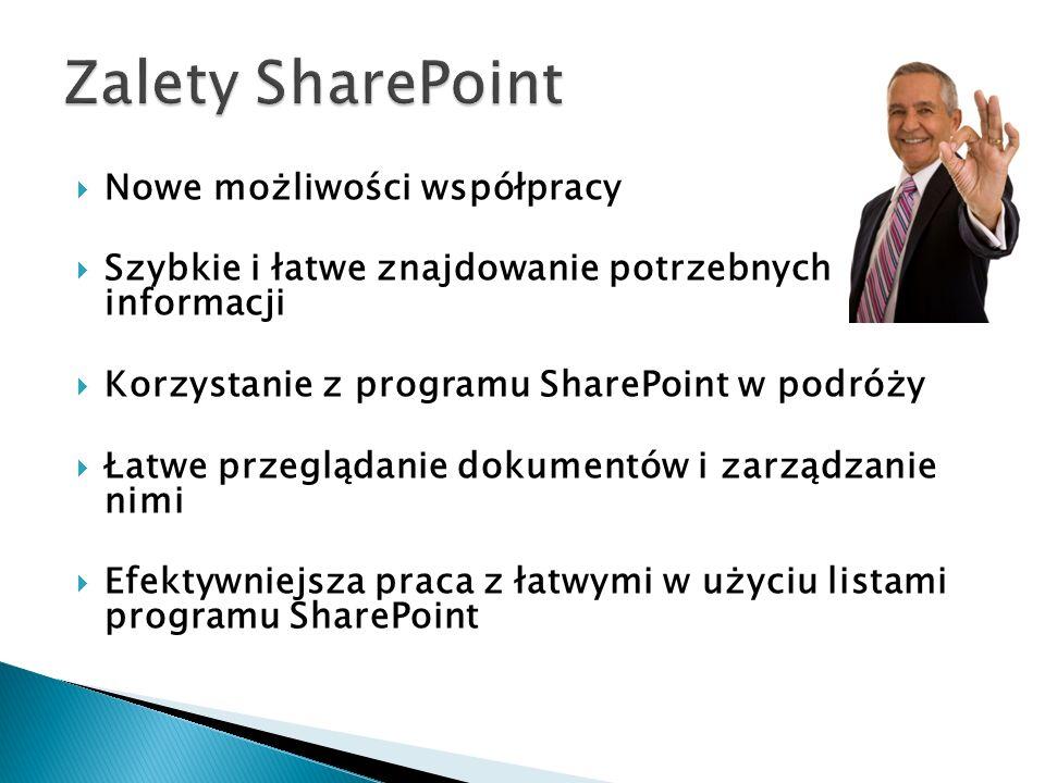 Uzyskiwanie dostępu do zewnętrznych źródeł danych i wprowadzanie w nich zmian Szybki dostęp do zawartości programu SharePoint z poziomu Eksploratora Windows Swoboda udostępniania plików niemal każdemu użytkownikowi Szybkie sprawdzanie aktualizacji Szybsze wykonywanie zadań