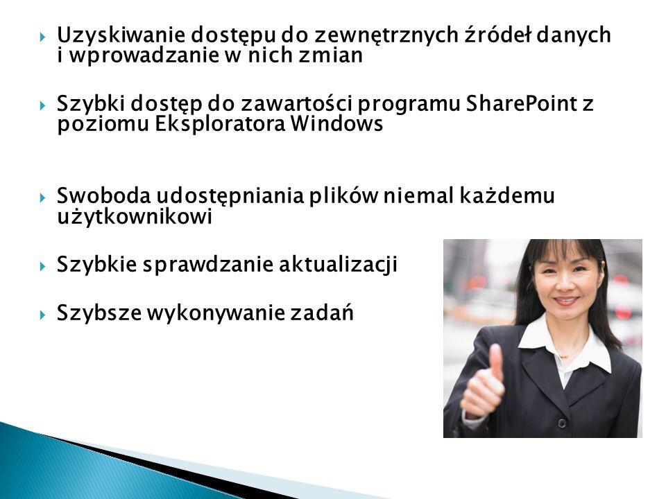 Uzyskiwanie dostępu do zewnętrznych źródeł danych i wprowadzanie w nich zmian Szybki dostęp do zawartości programu SharePoint z poziomu Eksploratora W