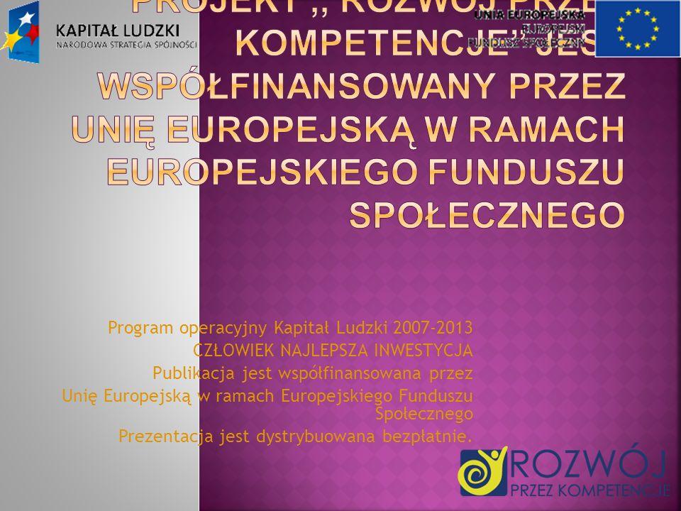 Program operacyjny Kapitał Ludzki 2007-2013 CZŁOWIEK NAJLEPSZA INWESTYCJA Publikacja jest współfinansowana przez Unię Europejską w ramach Europejskieg