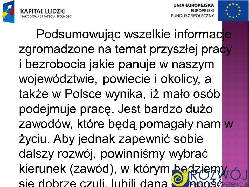 Podsumowując wszelkie informacje zgromadzone na temat przyszłej pracy i bezrobocia jakie panuje w naszym województwie, powiecie i okolicy, a także w P