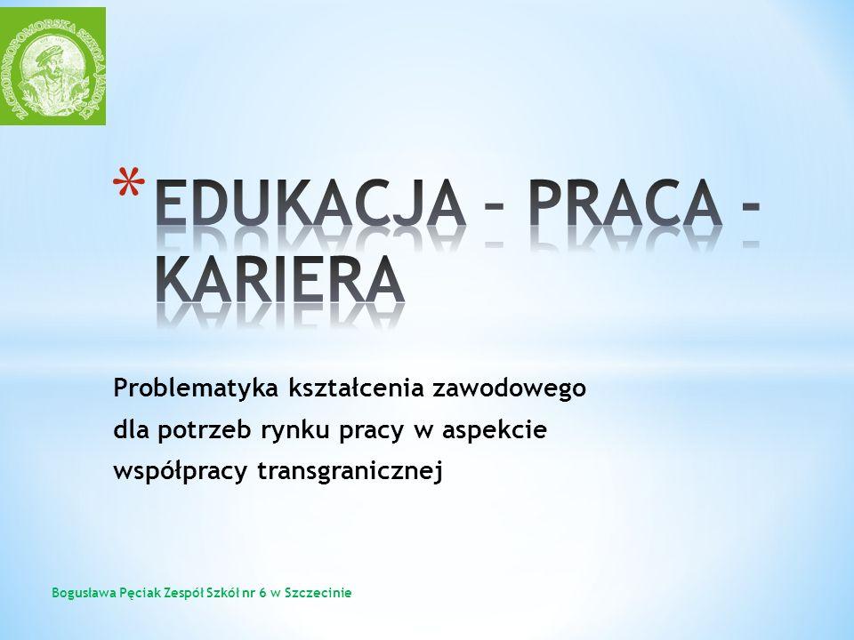 Problematyka kształcenia zawodowego dla potrzeb rynku pracy w aspekcie współpracy transgranicznej Bogusława Pęciak Zespół Szkół nr 6 w Szczecinie