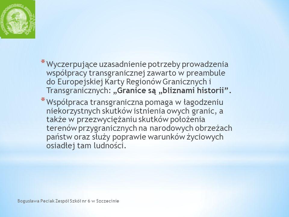 Bogusława Peciak Zespół Szkół nr 6 w Szczecinie * Wyczerpujące uzasadnienie potrzeby prowadzenia współpracy transgranicznej zawarto w preambule do Eur