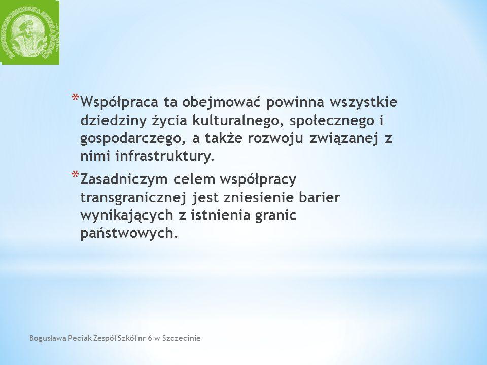 Bogusława Peciak Zespół Szkół nr 6 w Szczecinie * Współpraca ta obejmować powinna wszystkie dziedziny życia kulturalnego, społecznego i gospodarczego,