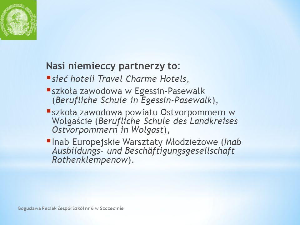 Bogusława Peciak Zespół Szkół nr 6 w Szczecinie Nasi niemieccy partnerzy to: sieć hoteli Travel Charme Hotels, szkoła zawodowa w Egessin-Pasewalk (Ber