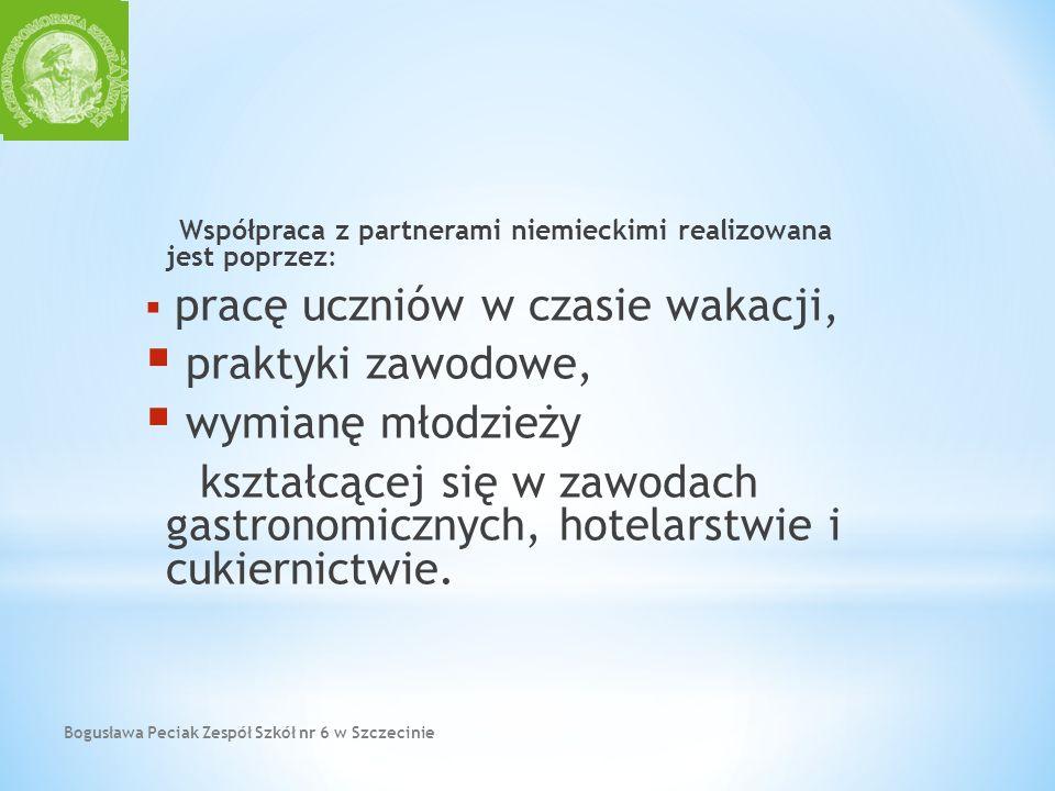 Bogusława Peciak Zespół Szkół nr 6 w Szczecinie Współpraca z partnerami niemieckimi realizowana jest poprzez: pracę uczniów w czasie wakacji, praktyki