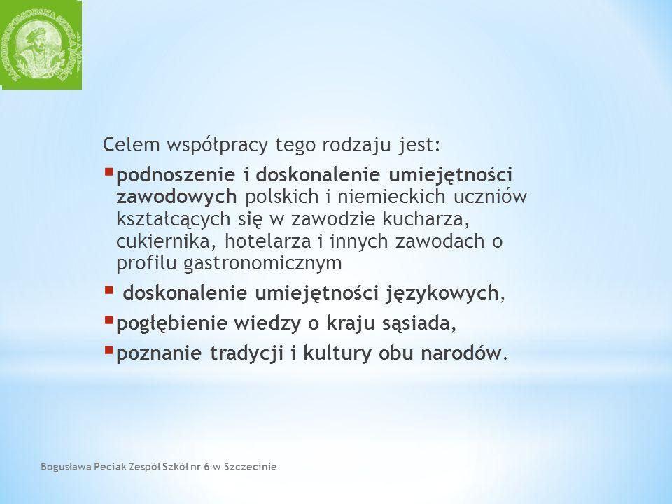 Bogusława Peciak Zespół Szkół nr 6 w Szczecinie Celem współpracy tego rodzaju jest: podnoszenie i doskonalenie umiejętności zawodowych polskich i niem