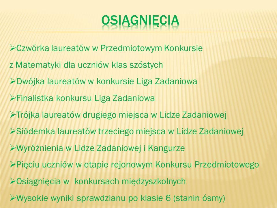 Czwórka laureatów w Przedmiotowym Konkursie z Matematyki dla uczniów klas szóstych Dwójka laureatów w konkursie Liga Zadaniowa Finalistka konkursu Lig