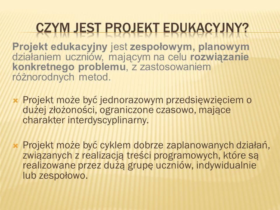 Projekt edukacyjny realizowany jest metodą projektów, dzięki której uczniowie kształtują wiele umiejętności.
