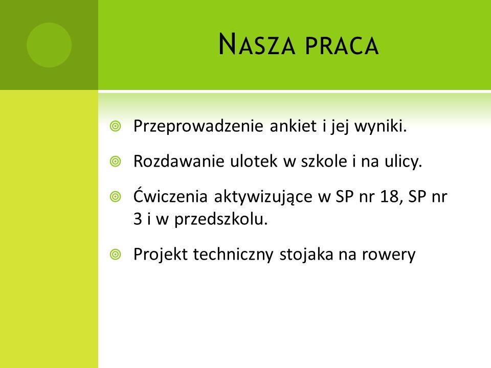 N ASZA PRACA Przeprowadzenie ankiet i jej wyniki. Rozdawanie ulotek w szkole i na ulicy. Ćwiczenia aktywizujące w SP nr 18, SP nr 3 i w przedszkolu. P