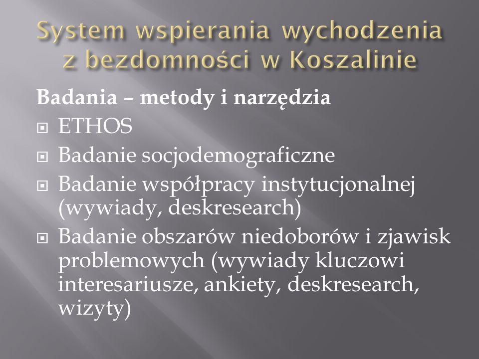 Badania – metody i narzędzia ETHOS Badanie socjodemograficzne Badanie współpracy instytucjonalnej (wywiady, deskresearch) Badanie obszarów niedoborów i zjawisk problemowych (wywiady kluczowi interesariusze, ankiety, deskresearch, wizyty)