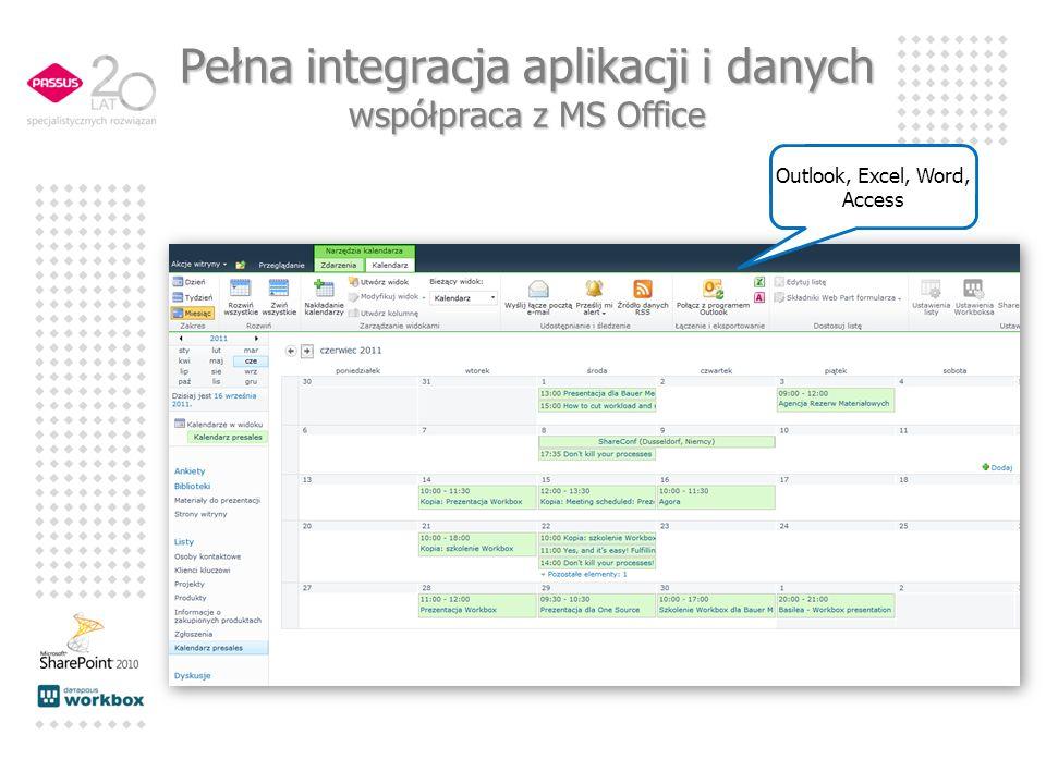 Outlook, Excel, Word, Access Pełna integracja aplikacji i danych współpraca z MS Office