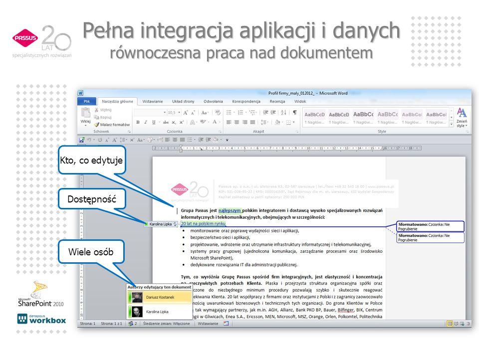 Wiele osób Kto, co edytuje Dostępność Pełna integracja aplikacji i danych równoczesna praca nad dokumentem