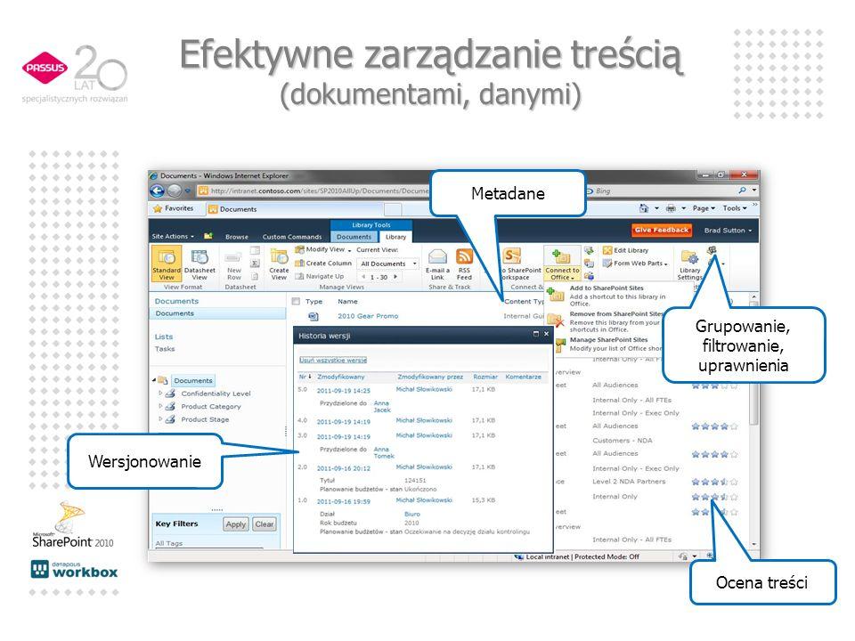 Grupowanie, filtrowanie, uprawnienia Metadane Ocena treści Wersjonowanie Efektywne zarządzanie treścią (dokumentami, danymi)
