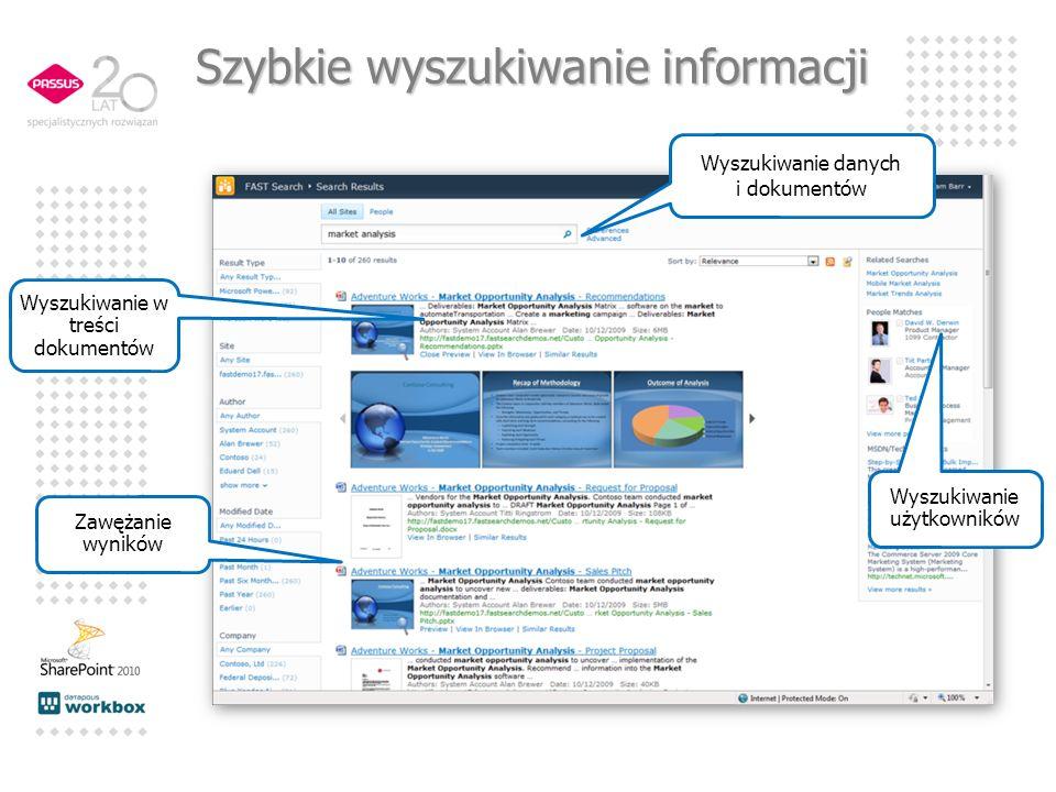 Wyszukiwanie użytkowników Wyszukiwanie w treści dokumentów Wyszukiwanie danych i dokumentów Zawężanie wyników Szybkie wyszukiwanie informacji