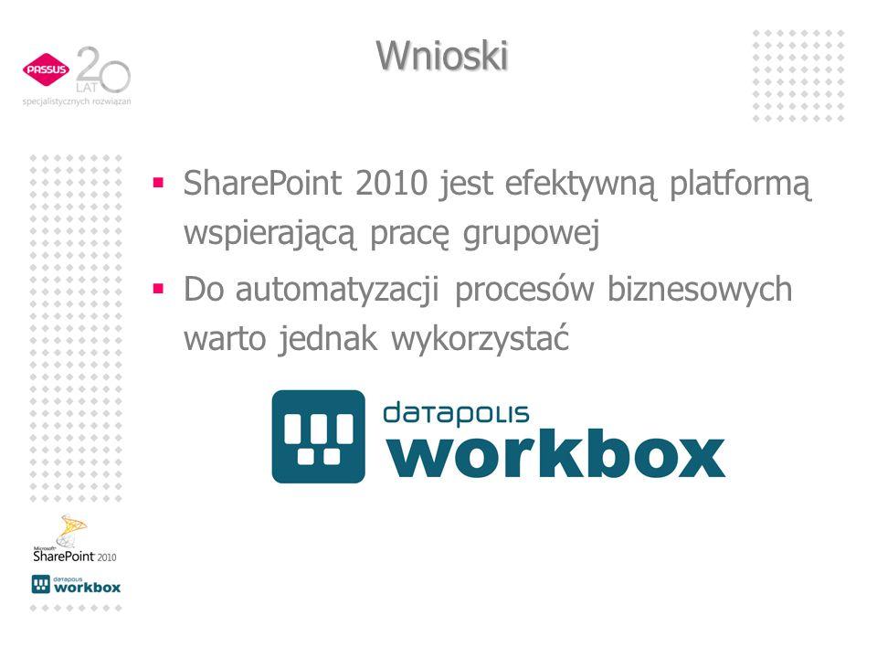 Wnioski SharePoint 2010 jest efektywną platformą wspierającą pracę grupowej Do automatyzacji procesów biznesowych warto jednak wykorzystać