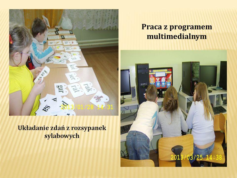 Praca z programem multimedialnym Układanie zdań z rozsypanek sylabowych