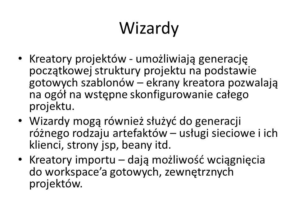 Wizardy Kreatory projektów - umożliwiają generację początkowej struktury projektu na podstawie gotowych szablonów – ekrany kreatora pozwalają na ogół