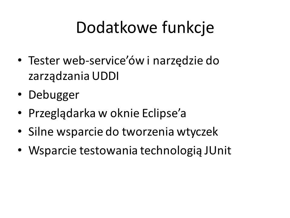 Dodatkowe funkcje Tester web-serviceów i narzędzie do zarządzania UDDI Debugger Przeglądarka w oknie Eclipsea Silne wsparcie do tworzenia wtyczek Wspa