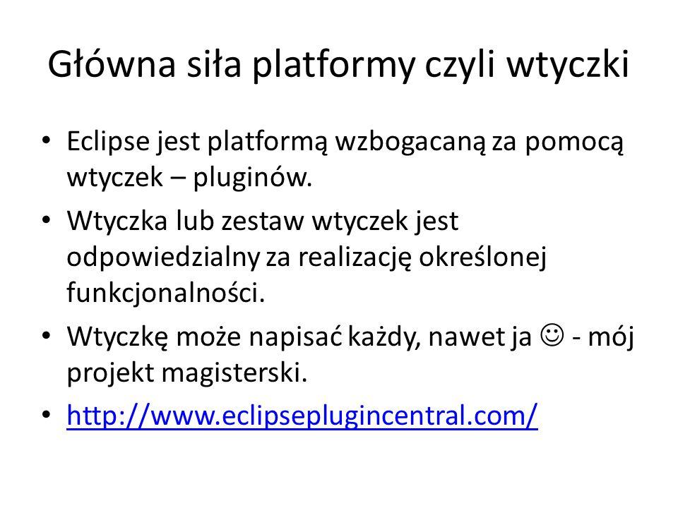 Główna siła platformy czyli wtyczki Eclipse jest platformą wzbogacaną za pomocą wtyczek – pluginów. Wtyczka lub zestaw wtyczek jest odpowiedzialny za