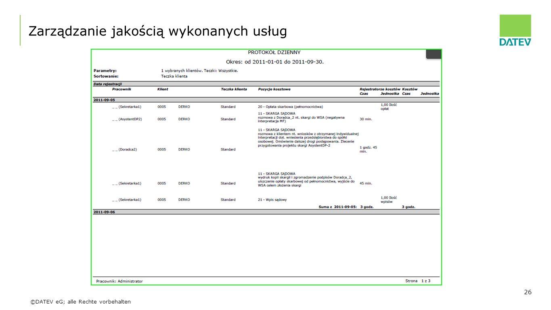 ©DATEV eG; alle Rechte vorbehalten Zarządzanie jakością wykonanych usług 26