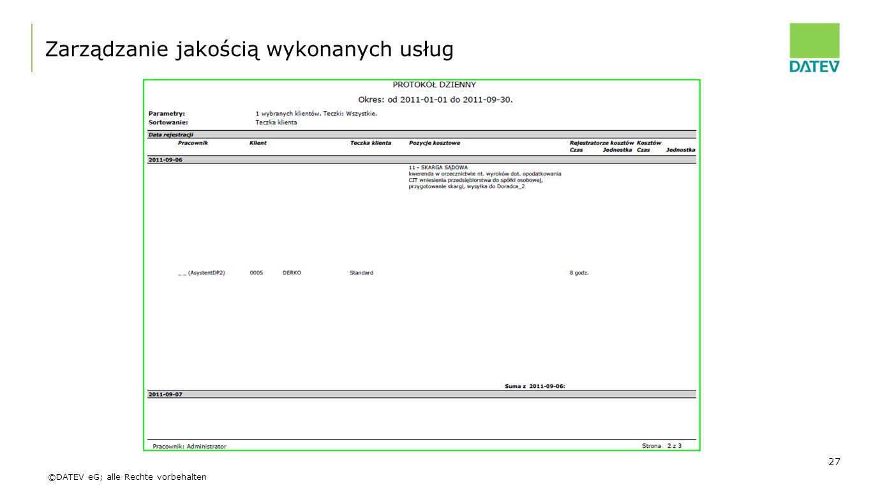 ©DATEV eG; alle Rechte vorbehalten Zarządzanie jakością wykonanych usług 27