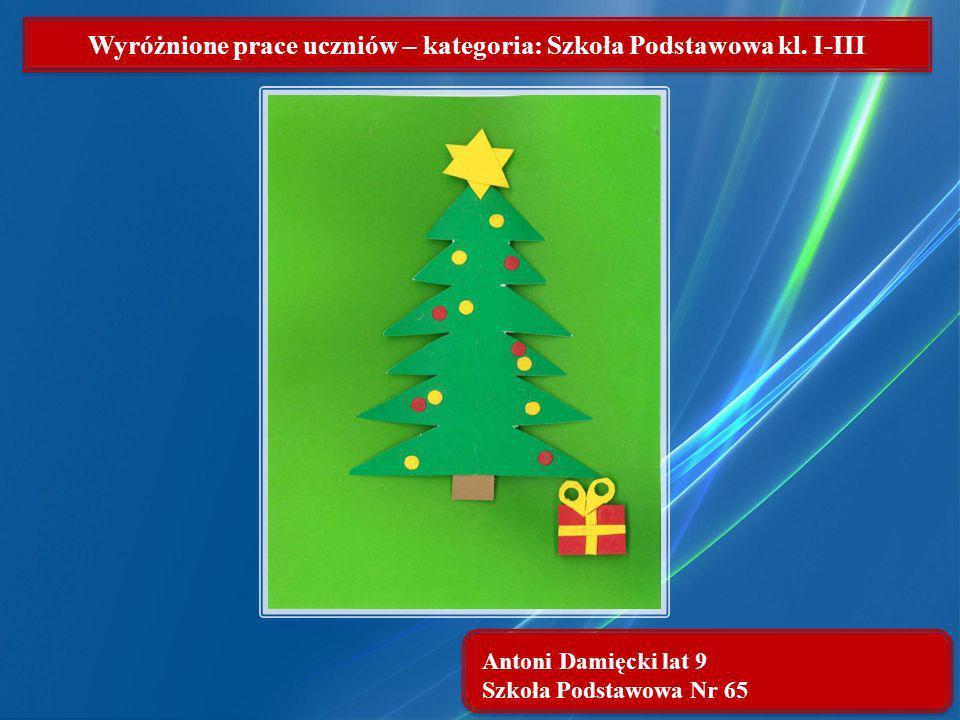 Wyróżnione prace uczniów – kategoria: Szkoła Podstawowa kl. I-III Antoni Damięcki lat 9 Szkoła Podstawowa Nr 65