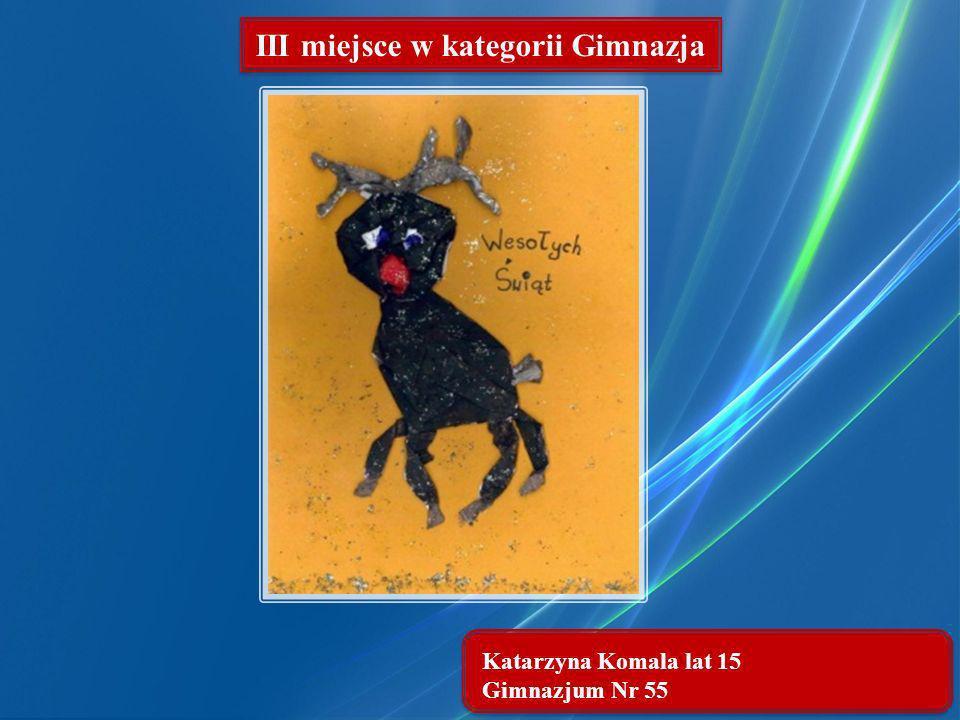 Katarzyna Komala lat 15 Gimnazjum Nr 55 III miejsce w kategorii Gimnazja
