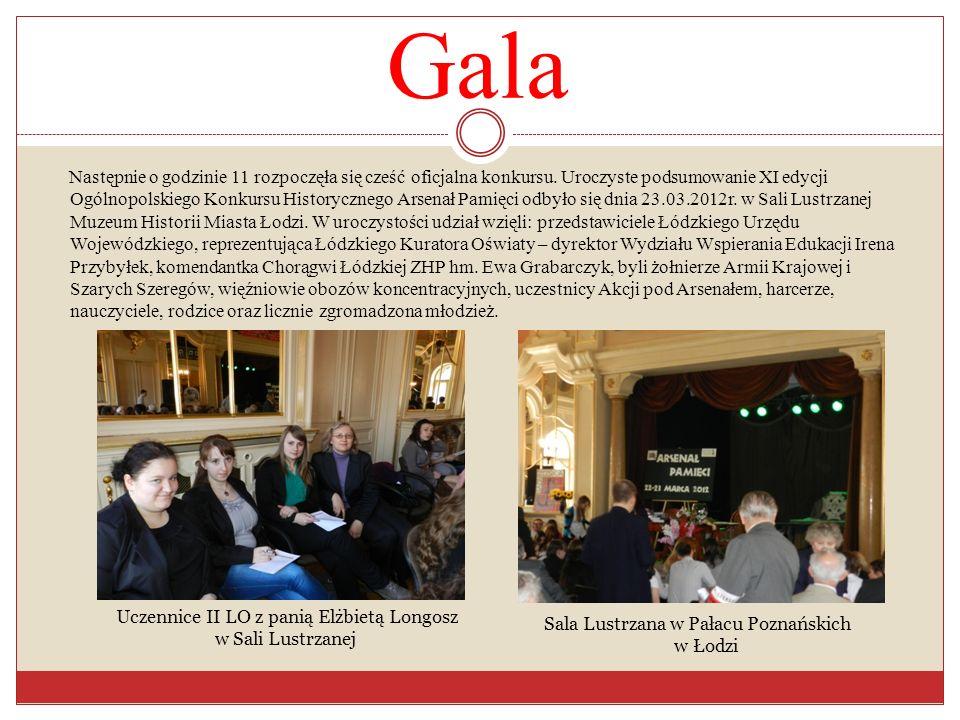 Gala Następnie o godzinie 11 rozpoczęła się cześć oficjalna konkursu. Uroczyste podsumowanie XI edycji Ogólnopolskiego Konkursu Historycznego Arsenał