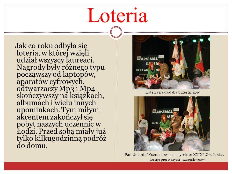Loteria Jak co roku odbyła się loteria, w której wzięli udział wszyscy laureaci. Nagrody były różnego typu począwszy od laptopów, aparatów cyfrowych,