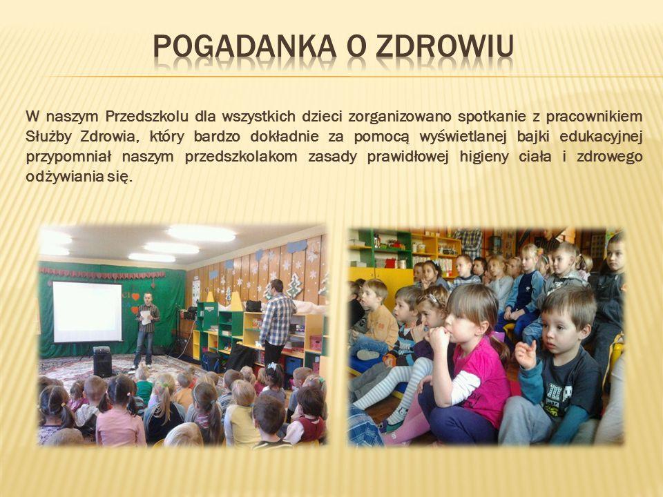 W naszym Przedszkolu dla wszystkich dzieci zorganizowano spotkanie z pracownikiem Służby Zdrowia, który bardzo dokładnie za pomocą wyświetlanej bajki