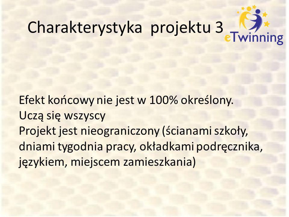 Charakterystyka projektu 3 Efekt końcowy nie jest w 100% określony. Uczą się wszyscy Projekt jest nieograniczony (ścianami szkoły, dniami tygodnia pra