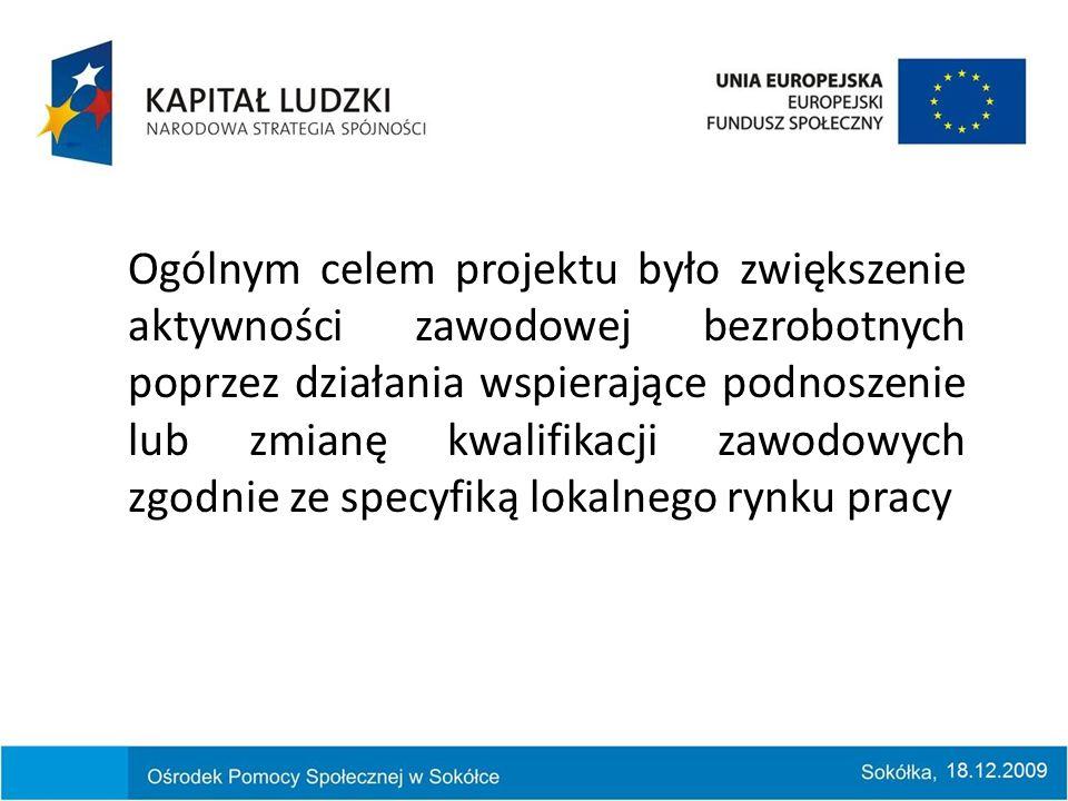 Ogólnym celem projektu było zwiększenie aktywności zawodowej bezrobotnych poprzez działania wspierające podnoszenie lub zmianę kwalifikacji zawodowych zgodnie ze specyfiką lokalnego rynku pracy