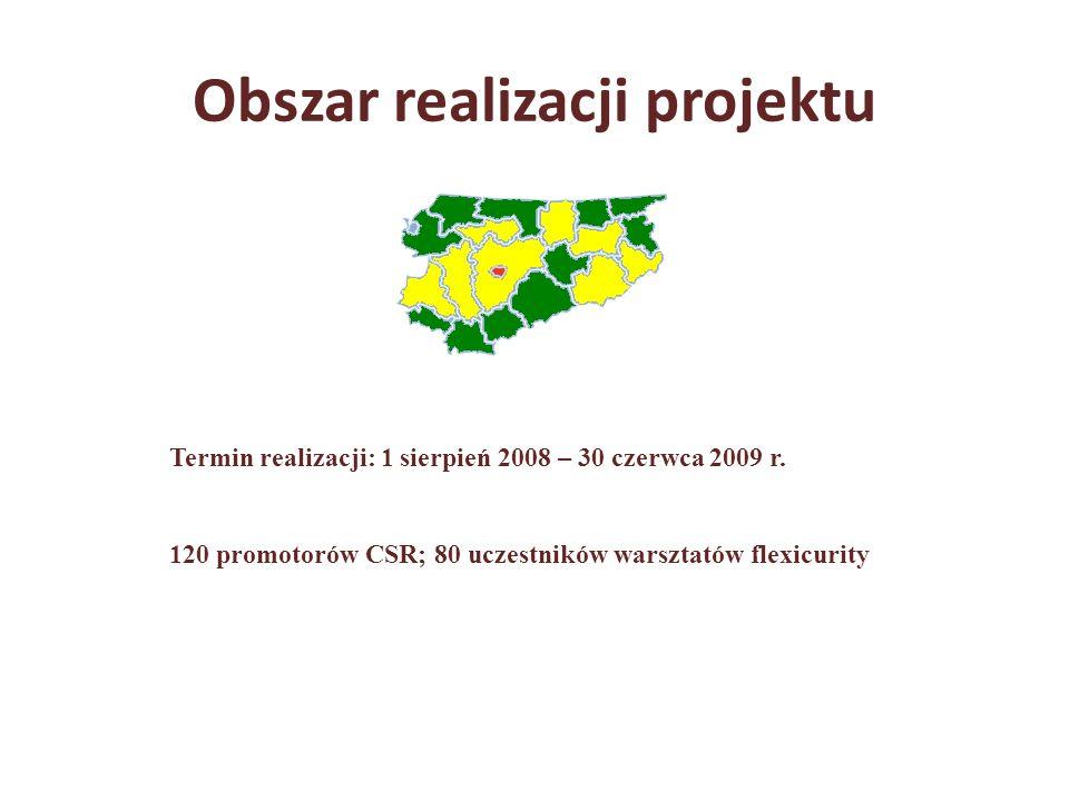 Obszar realizacji projektu Termin realizacji: 1 sierpień 2008 – 30 czerwca 2009 r. 120 promotorów CSR; 80 uczestników warsztatów flexicurity