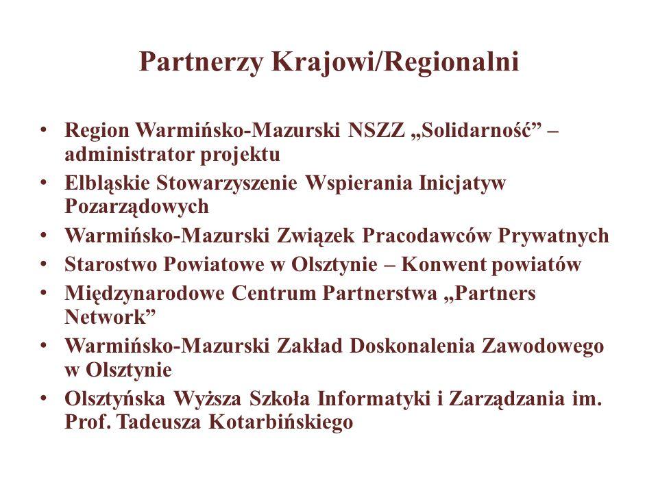 Partnerzy Krajowi/Regionalni Region Warmińsko-Mazurski NSZZ Solidarność – administrator projektu Elbląskie Stowarzyszenie Wspierania Inicjatyw Pozarzą