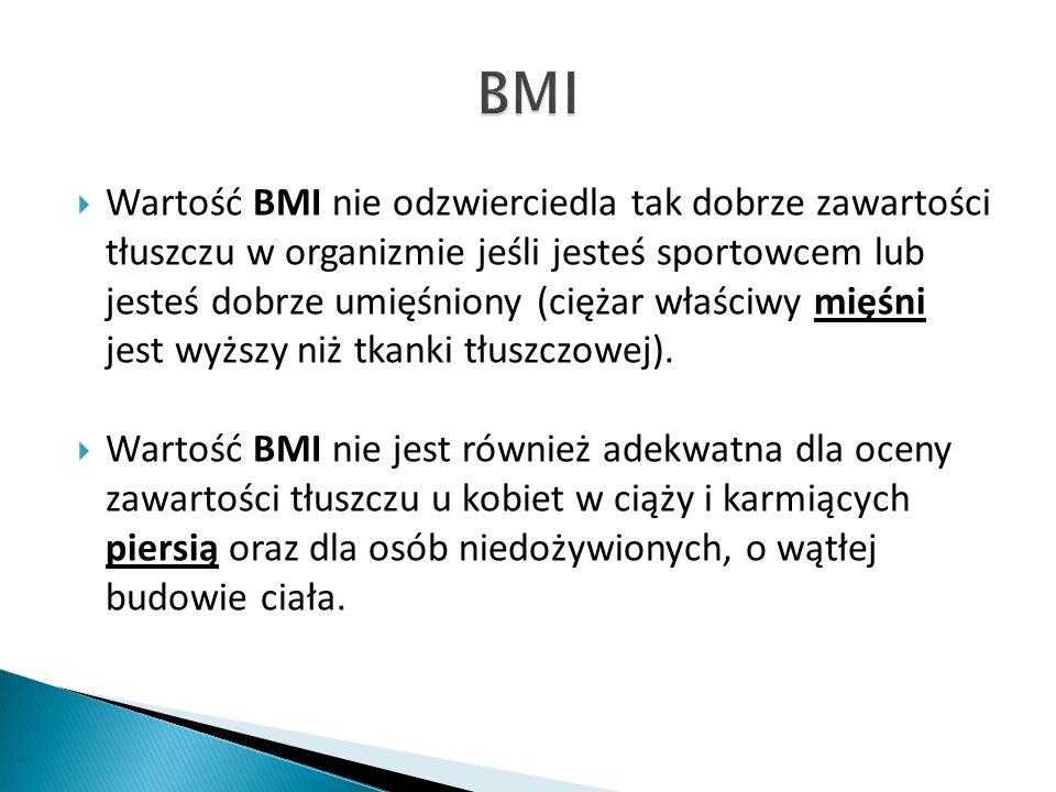 Wartość BMI nie odzwierciedla tak dobrze zawartości tłuszczu w organizmie jeśli jesteś sportowcem lub jesteś dobrze umięśniony (ciężar właściwy mięśni