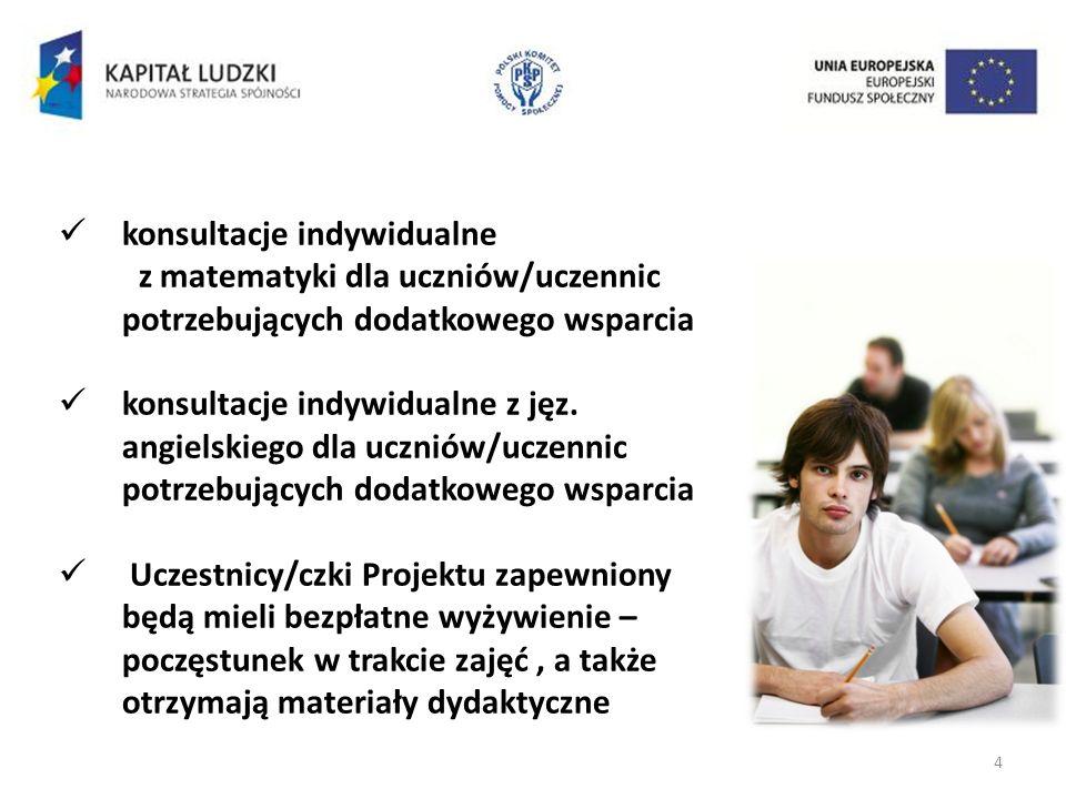 4 konsultacje indywidualne z matematyki dla uczniów/uczennic potrzebujących dodatkowego wsparcia konsultacje indywidualne z jęz.