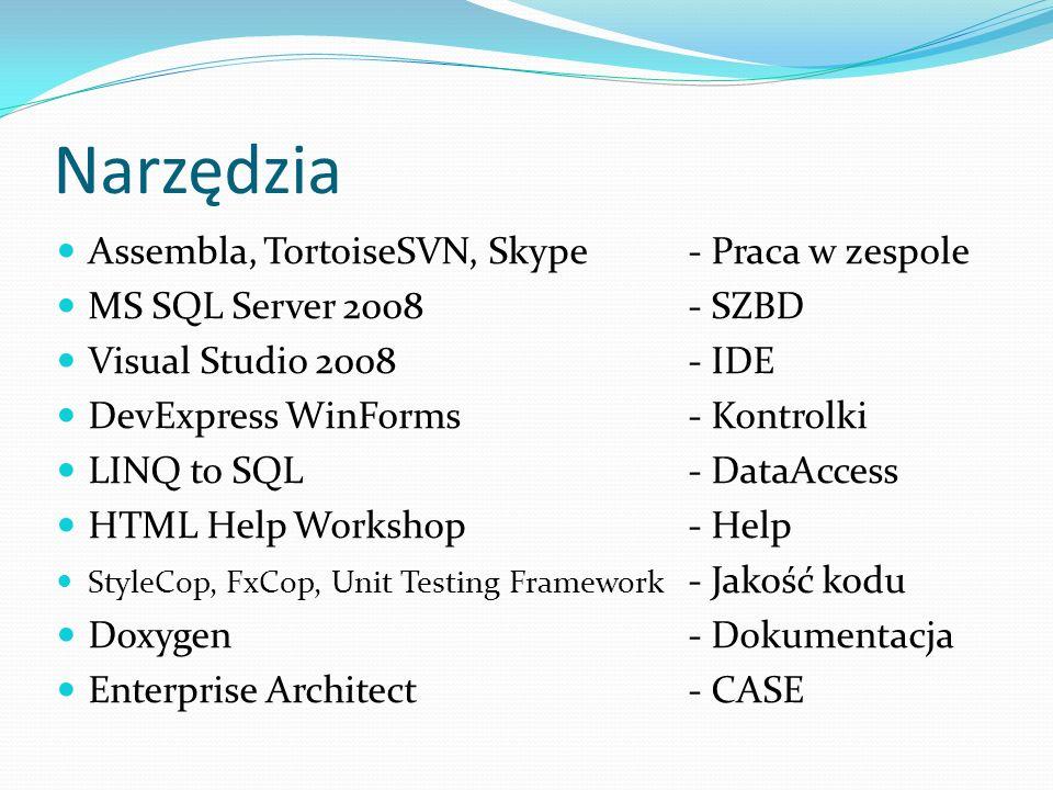 Narzędzia Assembla, TortoiseSVN, Skype- Praca w zespole MS SQL Server 2008 - SZBD Visual Studio 2008 - IDE DevExpress WinForms - Kontrolki LINQ to SQL