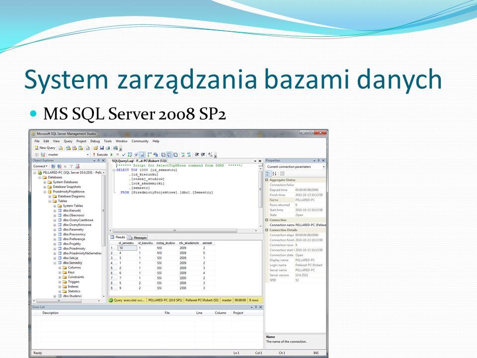 System zarządzania bazami danych MS SQL Server 2008 SP2