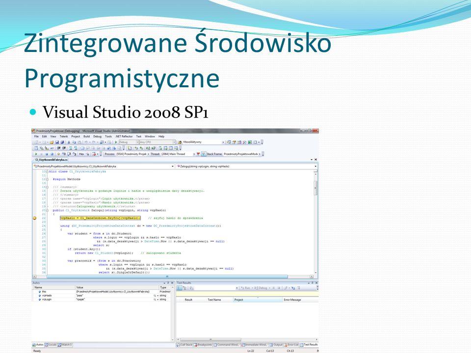 Zintegrowane Środowisko Programistyczne Visual Studio 2008 SP1