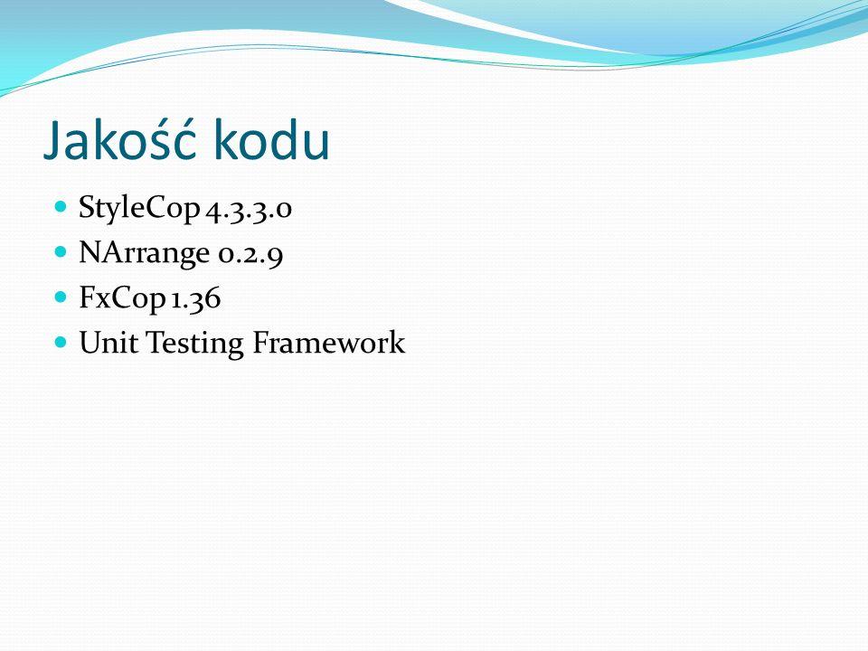 Jakość kodu StyleCop 4.3.3.0 NArrange 0.2.9 FxCop 1.36 Unit Testing Framework