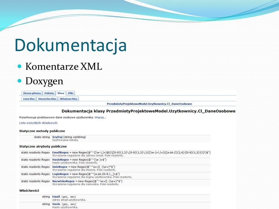 Dokumentacja Komentarze XML Doxygen