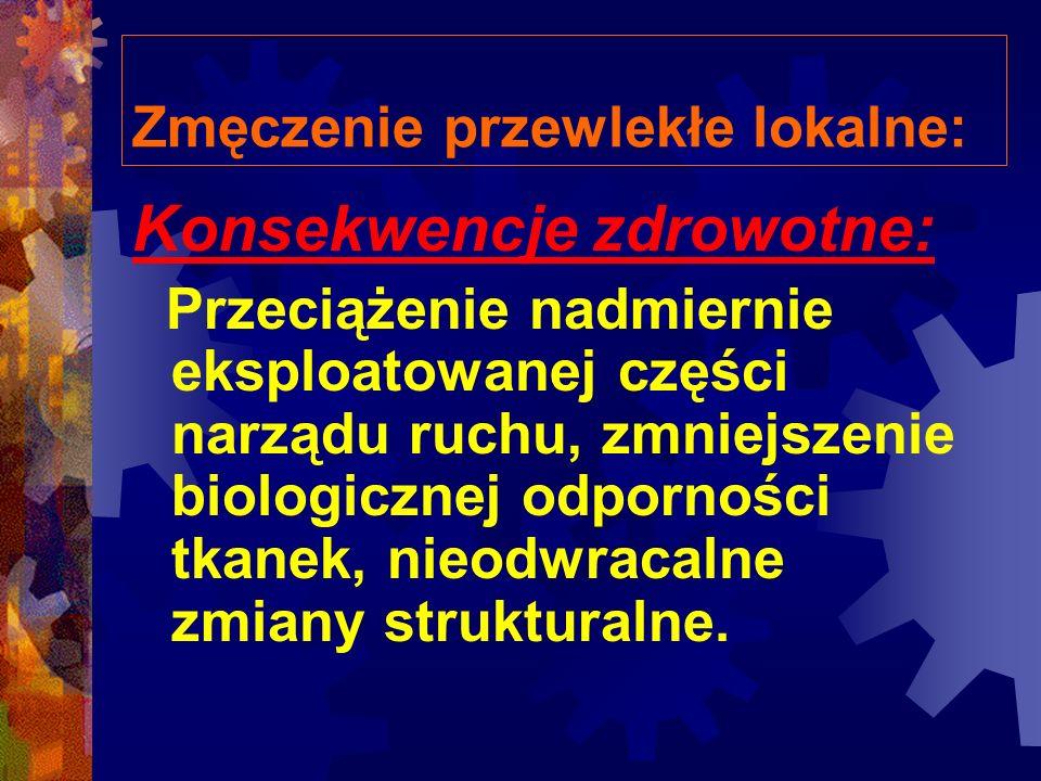 Zmęczenie przewlekłe lokalne: Konsekwencje zdrowotne: Przeciążenie nadmiernie eksploatowanej części narządu ruchu, zmniejszenie biologicznej odporności tkanek, nieodwracalne zmiany strukturalne.