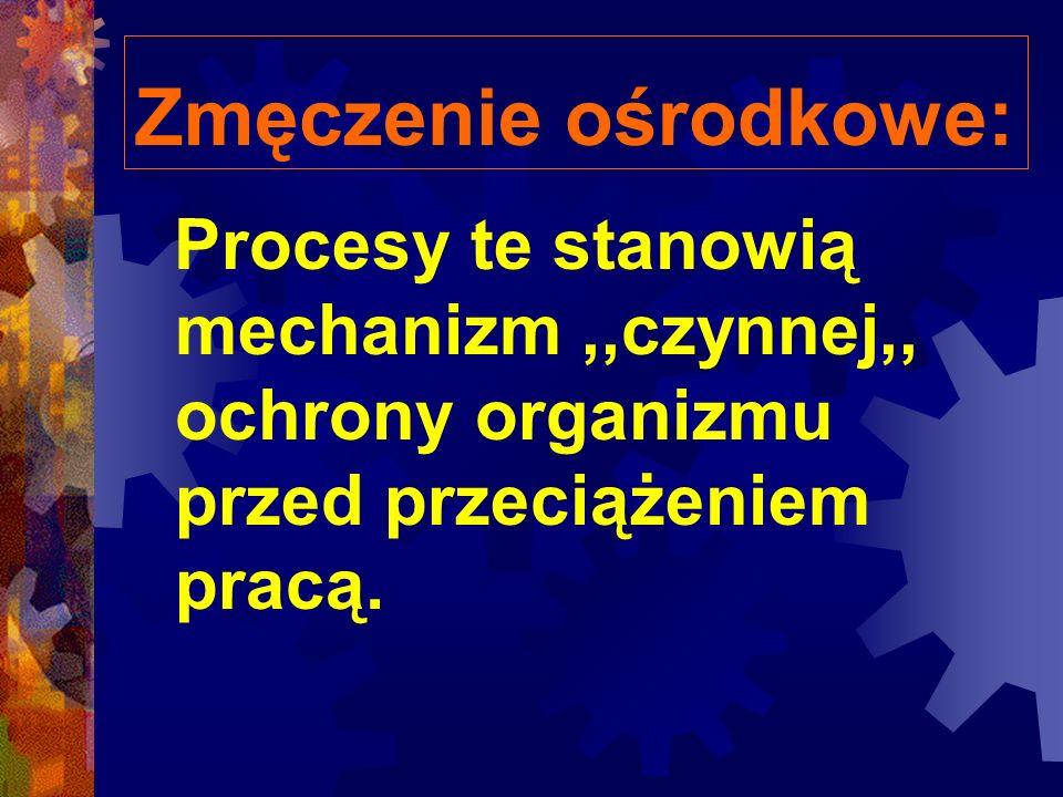 Zmęczenie ośrodkowe: Procesy te stanowią mechanizm,,czynnej,, ochrony organizmu przed przeciążeniem pracą.
