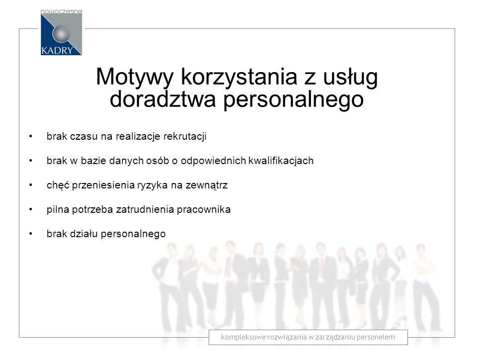 kompleksowe rozwiązania w zarządzaniu personelem Motywy korzystania z usług doradztwa personalnego brak czasu na realizacje rekrutacji brak w bazie da
