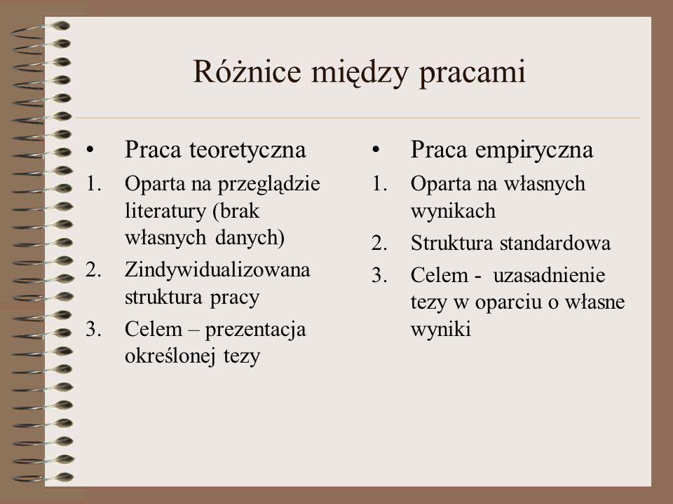 Różnice między pracami Praca teoretyczna 1.Oparta na przeglądzie literatury (brak własnych danych) 2.Zindywidualizowana struktura pracy 3.Celem – prez