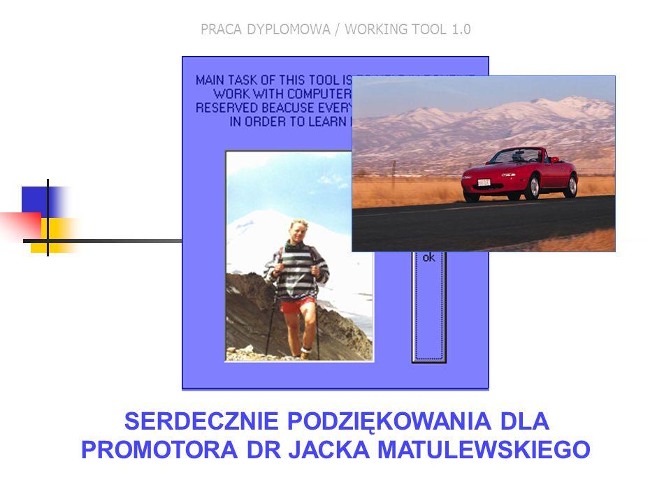 SERDECZNIE PODZIĘKOWANIA DLA PROMOTORA DR JACKA MATULEWSKIEGO PRACA DYPLOMOWA / WORKING TOOL 1.0