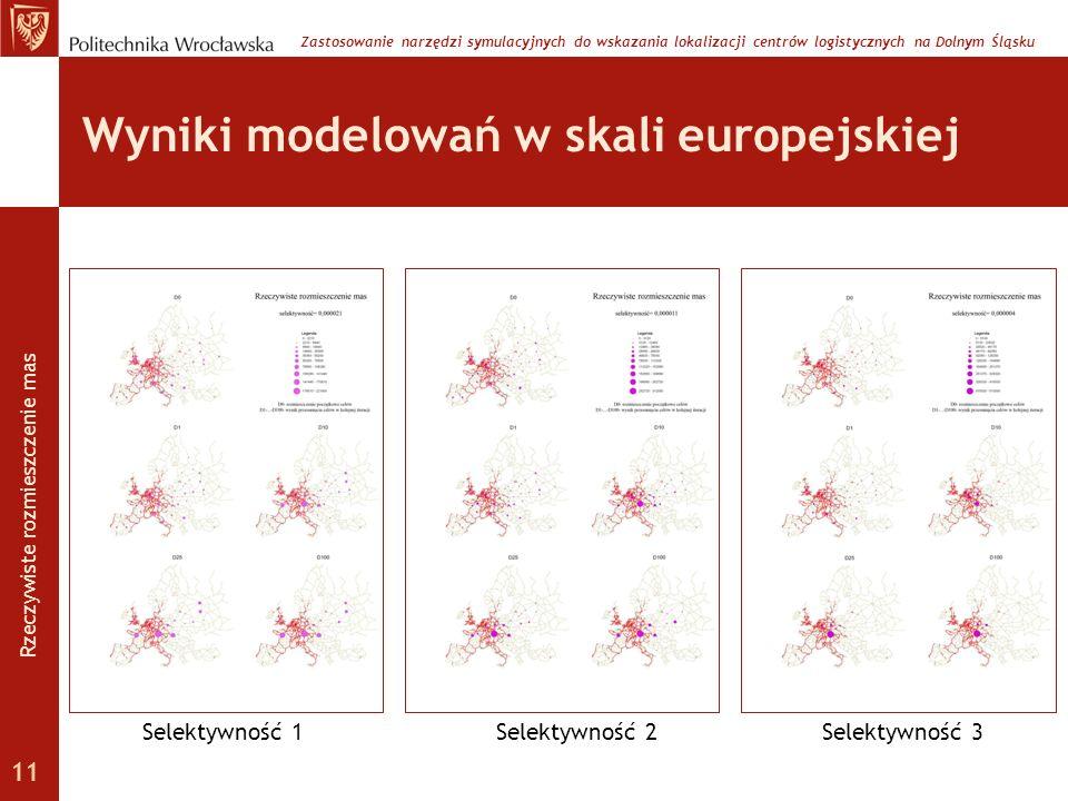 Wyniki modelowań w skali europejskiej Zastosowanie narzędzi symulacyjnych do wskazania lokalizacji centrów logistycznych na Dolnym Śląsku Selektywność
