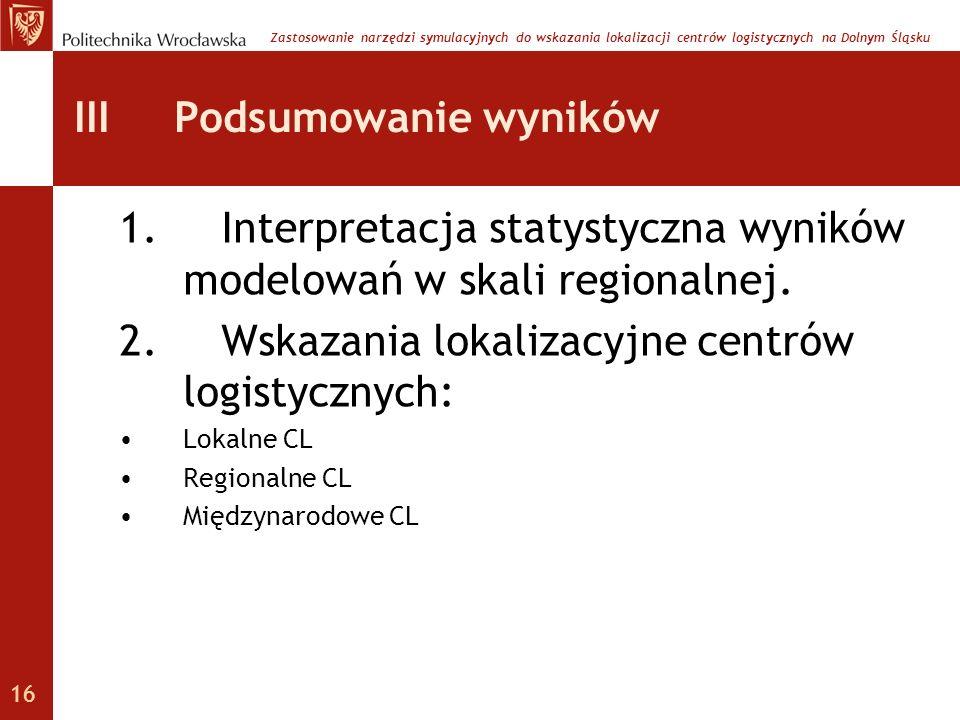 III Podsumowanie wyników 1. Interpretacja statystyczna wyników modelowań w skali regionalnej. 2. Wskazania lokalizacyjne centrów logistycznych: Lokaln