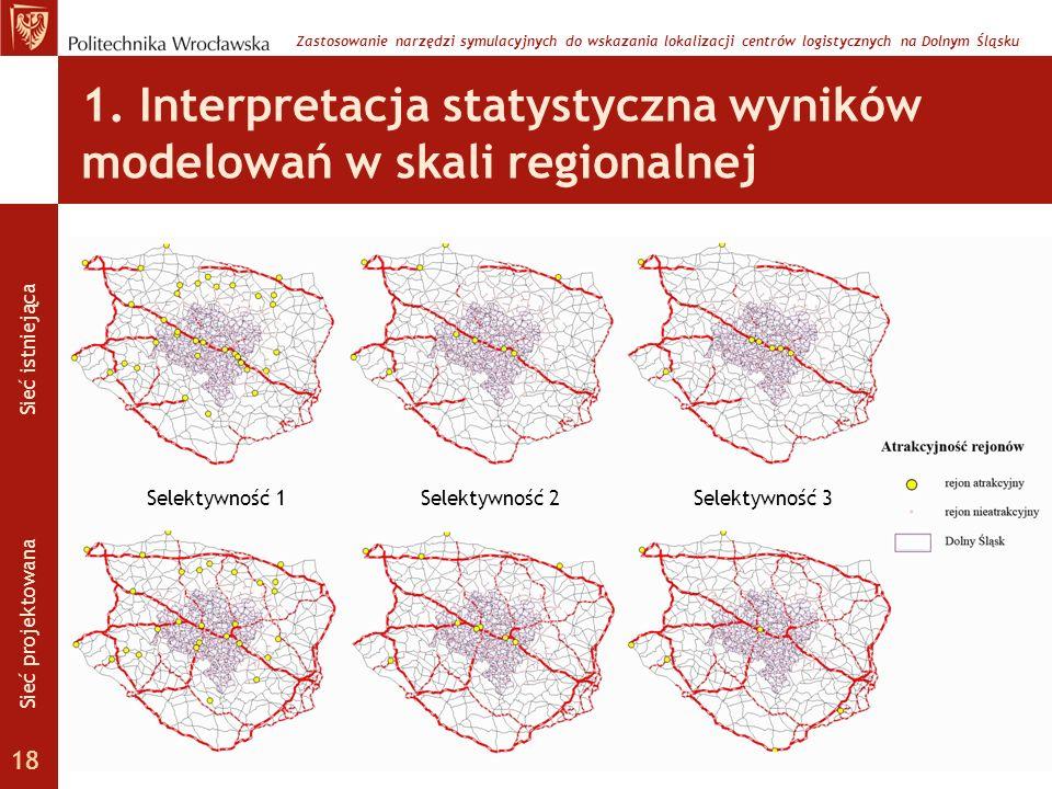 1. Interpretacja statystyczna wyników modelowań w skali regionalnej Selektywność 1Selektywność 2Selektywność 3 Zastosowanie narzędzi symulacyjnych do